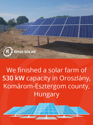 We finished a solar farm of 530 kW capacity in Oroszlány, Komárom-Esztergom county, Hungary.